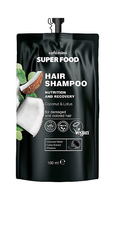 Nährendes und regenerierendes Shampoo mit Kokoswasser, Lotusextrakt und Proteinen für strapaziertes und gefärbtes Haar - Cafe Mimi Super Food Shampoo
