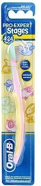 Kinderzahnbürste 4-24 Monate weich Pro-Expert Stages rosa-gelb - Oral-B — Bild N1