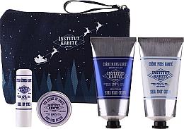 Düfte, Parfümerie und Kosmetik Körperpflegeset - Institut Karite Shea (Sheabutter 10ml + Lippenstift 4g + Handcreme 75ml + Fußcreme 75ml + Kosmetiktasche)