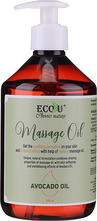 Feuchtigkeitsspendendes Massageöl mit Avocadoöl - Eco U Avocado Massage Oil