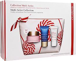 Düfte, Parfümerie und Kosmetik Gesichtspflegeset - Clarins Multi-Active Christmas Set (Tagescreme 50ml + Nachtcreme 15ml + Gesichtsbalsam 15ml + Kosmetiktasche)