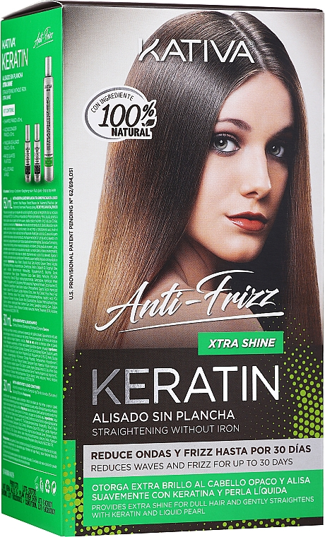 Haarpflegeset - Kativa Keratin Anti-Frizz Xtra Shine (Haarmaske 150ml + Shampoo 30ml + Conditioner 30ml)