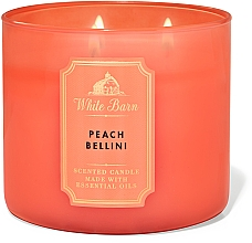 Düfte, Parfümerie und Kosmetik Bath And Body Works White Barn Peach Bellini 3-Wick Candle - Duftkerze mit ätherischen Ölen Peach Bellini