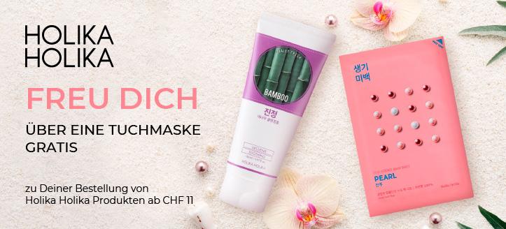 Beim Kauf von Holika Holika Produkten ab CHF 11 erhältst Du eine Tuchmaske geschenkt