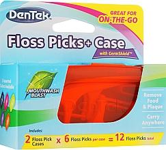 Düfte, Parfümerie und Kosmetik Zahnseide-Sticks + Box orange und blau - Dentek Moulthwash Blast
