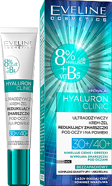 Nährendes Creme-Gel für die Augenpartie gegen Falten 30+/40+ - Eveline Cosmetics Hyaluron Clinic 30+/40+