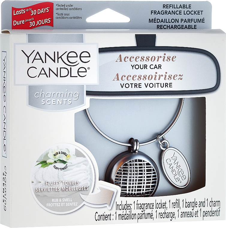Autoduftanhänger - Yankee Candle Fluffy Towels Linear Charming Scents Starter Kit (Medaillon + Duftstein + Charm-Anhänger + Band)