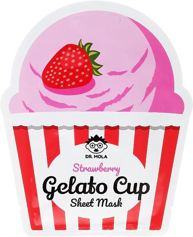 Aufhellende Tuchmaske mit Erdbeerextrakt - Dr. Mola Strawberry Gelato Cup Sheet Mask