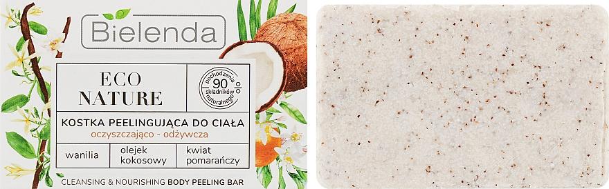 Reinigende und pflegende Peeling-Seife mit Vanille, Kokosnussöl und Orangenblüte - Bielenda Eco Nature Body Peeling Bar Vanilla Coconut Milk Orange
