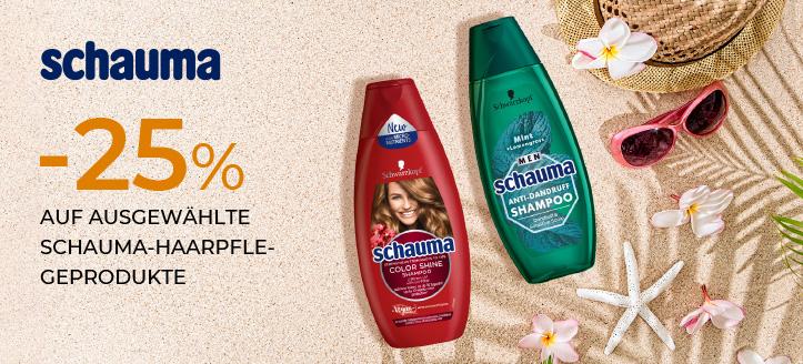 25% Rabatt auf ausgewählte Schauma-Haarpflegeprodukte. Die Preise auf der Website sind inklusive Rabatt