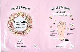 Düfte, Parfümerie und Kosmetik Reichhaltige und feuchtigkeitsspendende Fußmaske mit Sheabutter und Harnstoff - Etude House Hand Bouquet Rich Butter Foot Mask