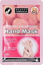 Düfte, Parfümerie und Kosmetik Beruhigende und pflegende Maske in Handschuh-Form mit Pfirsichextrakt und Sheabutter - Beauty Formulas