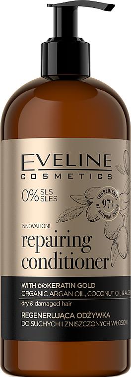 Regenerierende Haarspülung mit BioKeratin für trockenes und strapaziertes Haar - Eveline Cosmetics Organic Gold Regenerating Hair Conditioner With Biokeratin Extract