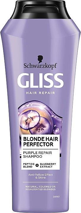 Regenerierendes Shampoo für blondes Haar mit Cranberry-Extrakt und Peptidmischung - Schwarzkopf Gliss Kur Blonde Hair Perfector Purple Repair Shampoo