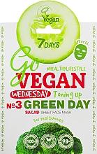 Düfte, Parfümerie und Kosmetik Tonisierende Tuchmaske für das Gesicht mit Brokkoli-, Rosmarin- und Gurkenextrakt - 7 Days Go Vegan Wednesday Green Day