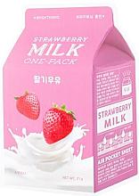 Düfte, Parfümerie und Kosmetik Aufhellende Tuchmaske für das Gesicht mit Erdbeeren und Milch - A'Pieu Milk One-Pack Brightening Strawberry