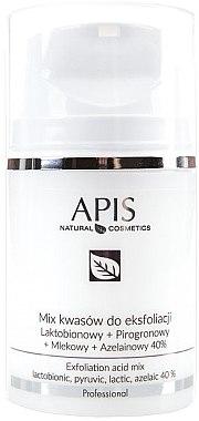 Fruchtsäurepeeling für Gesicht - APIS Professional Lacticion + Pirogron + Milk + Azelaine 40%