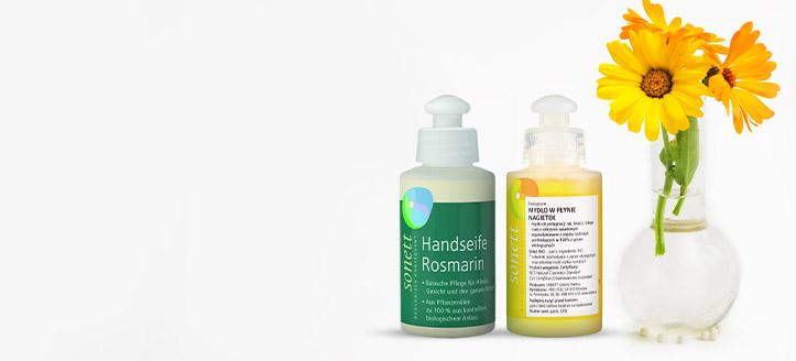 Beim Kauf von Sonett Produkten ab CHF10 bekommst Du eine Flussigseife nach deiner Wahl geschenkt: mit Rosmarin oder mit Ringelblume
