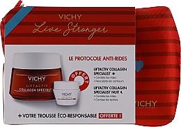 Düfte, Parfümerie und Kosmetik Gesichtspflegeset - Vichy LiftActiv Le Protocole Anti-Rides (Tagescreme 50ml + Nachtcreme 15ml + Kosmetiktasche)