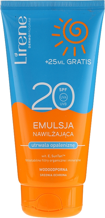 Wasserfeste feuchtigkeitsspendende Bräunungsemulsion SPF 20 - Lirene Sun Care Emulsion SPF20