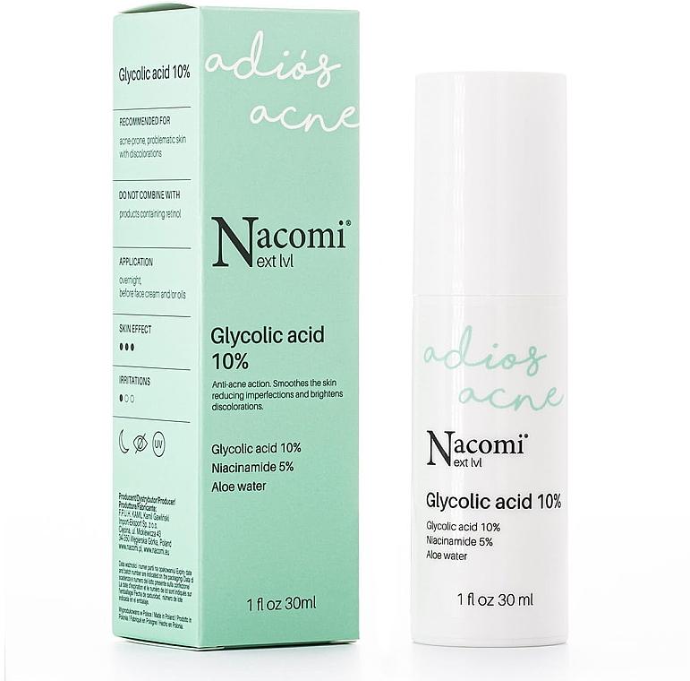 Nachtpeeling-Serum gegen Akne mit 10% Glykolsäure - Nacomi Next Level Glycolic Acid 10%