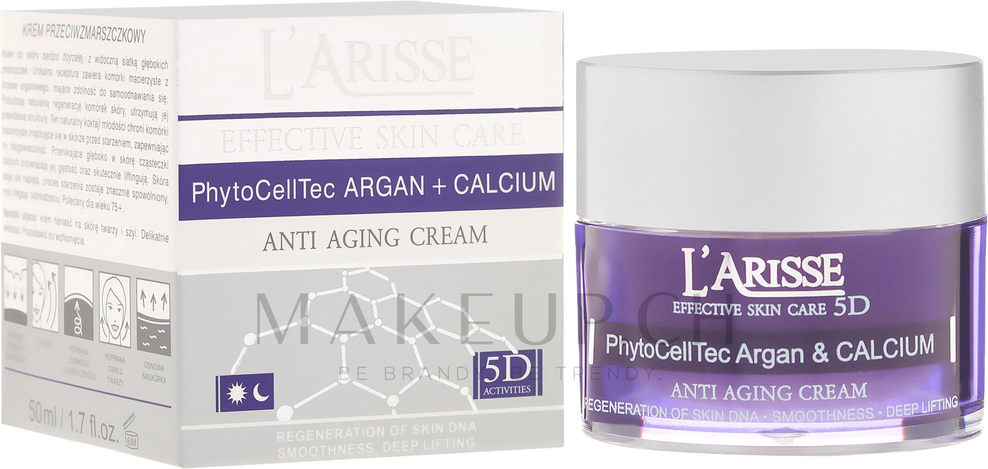 Anti-Falten Gesichtscreme mit Argan-Stammzellen und Kalzium 75+ - Ava Laboratorium L'Arisse 5D Anti-Wrinkle Cream Stem PhytoCellTech Argan + Calcium — Bild 50 ml