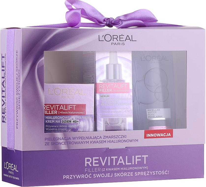 Gesichtspflegeset - Loreal Revitalift Filler (Tagescreme 50ml + Gesichtsserum 30ml + Mizellenwasser 200ml)