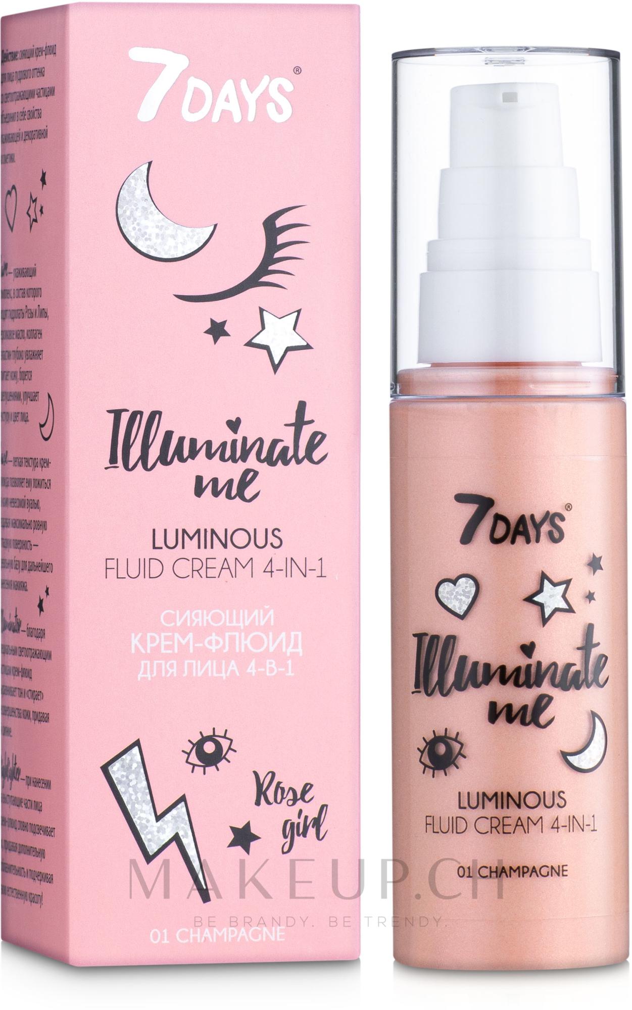 4in1 Gesichtscreme-Fluid für strahlende Haut - 7 Days Illuminate Me Luminous Fluid Cream 4in1 — Bild 01 - Champagne