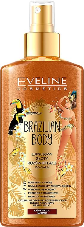 Highlighter für Körper mit Pfeffer- und Arganöl 5in1 - Eveline Cosmetics Brazilian Body Luxury Golden Body