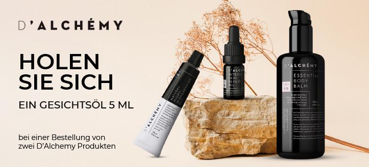 Bei einer Bestellung von zwei D'Alchemy Produkte, bekommen Sie ein Gesichtsöl von uns geschenkt