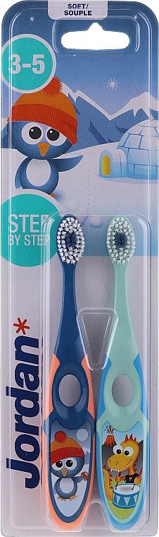 Kinderzahnbürste 3-5 Jahre weich Step By Step 2 St. blau+grün - Jordan Step By Step Soft Clean