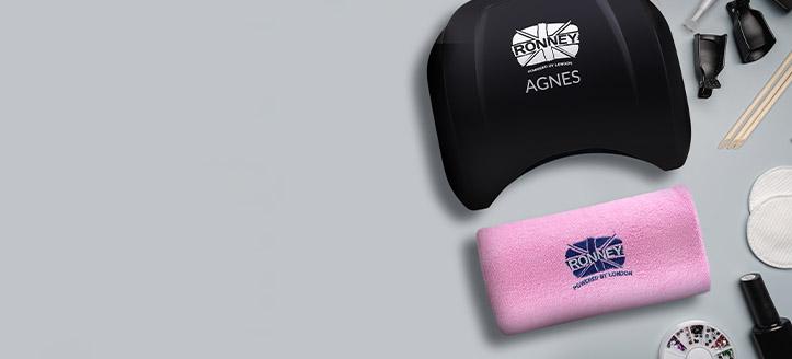 Beim Kauf von Aktions-LED-Lampen der Marke Ronney Profesional erhalten Sie eine Maniküre-Handauflage nach Wahl: weiß, blau oder rosa