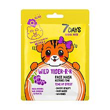 Düfte, Parfümerie und Kosmetik Gesichtsmaske mit Blaubeere und Eisenkraut-Extrakt - 7 Days Animal Wild Tiger-r-r Face Mask