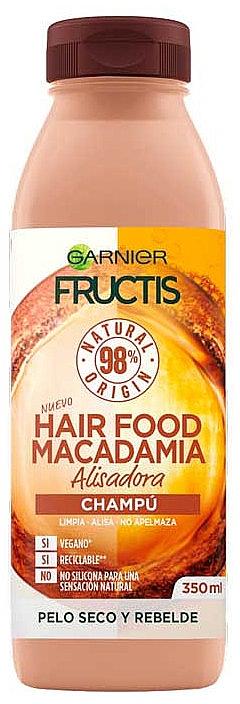 Veganes glättendes Shampoo für trockenes und widerspenstiges Haar mit Macadamiaöl - Garnier Fructis Hair Food Macadamia Smoothing Shampoo