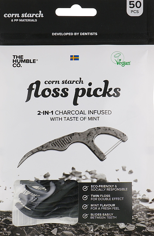 Zahnseide-Sticks mit Minze und Aktivkohle schwarz - The Humble Co. Dental Floss Picks