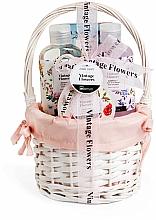 Düfte, Parfümerie und Kosmetik Körperpflegeset - IDC Institute Vintage Flowers Basket (Duschgel 160ml + Körperlotion 50ml + Badesalz 100g + Badebombe 160ml)