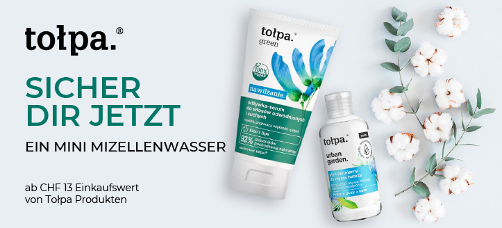 Bei einer Bestellung von Tołpa Produkten ab CHF 13 erhälst Du ein Mini Mizellenwasser gratis