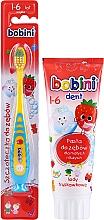 Düfte, Parfümerie und Kosmetik Zahnpflegeset für Kinder 1-6 Jahre - Bobini (Zahnbürste gelb-blau + Zahnpaste 75ml)