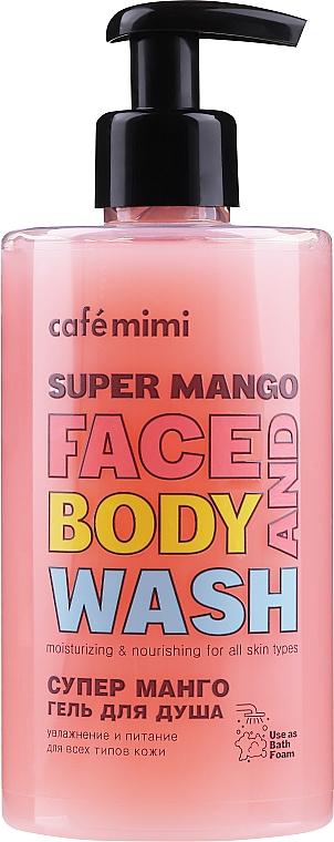 Feuchtigkeitsspendendes und nährendes Duschgel für Körper und Gesicht mit Mangoextrakt - Cafe Mimi Super Mango Face And Body Wash