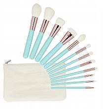 Düfte, Parfümerie und Kosmetik Make-up Pinselset mit Etui 12-tlg. türkis - Tools For Beauty MiMo Turquoise Set