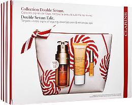 Düfte, Parfümerie und Kosmetik Gesichtspflegeset - Clarins Double Serum (Double Serum 30ml + Reinigungscreme 30ml + Lippenöl 2.8ml + Kosmetiktasche)