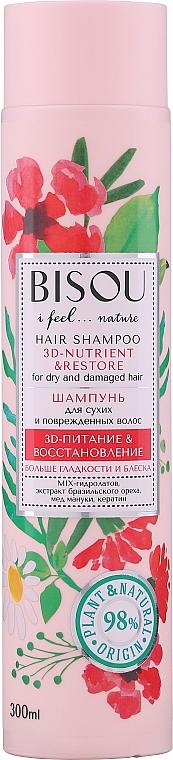 Shampoo mit Paranuss-Extrakt, Manuka-Honig und Keratin für trockenes und strapaziertes Haar - Bisou Hair Shampoo 3D-Nutrien & Restore