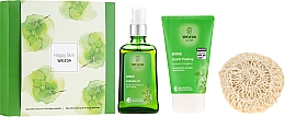 Düfte, Parfümerie und Kosmetik Körperpflegeset - Weleda Happy Skin (Körperpeeling 150ml + Körperöl 100ml + Duschschwamm)