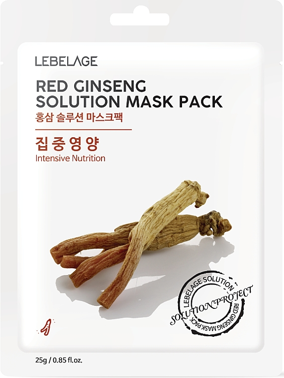 Intensiv nährende Tuchmaske für das Gesicht mit rotem Ginseng - Lebelage Red Ginseng Solution Mask