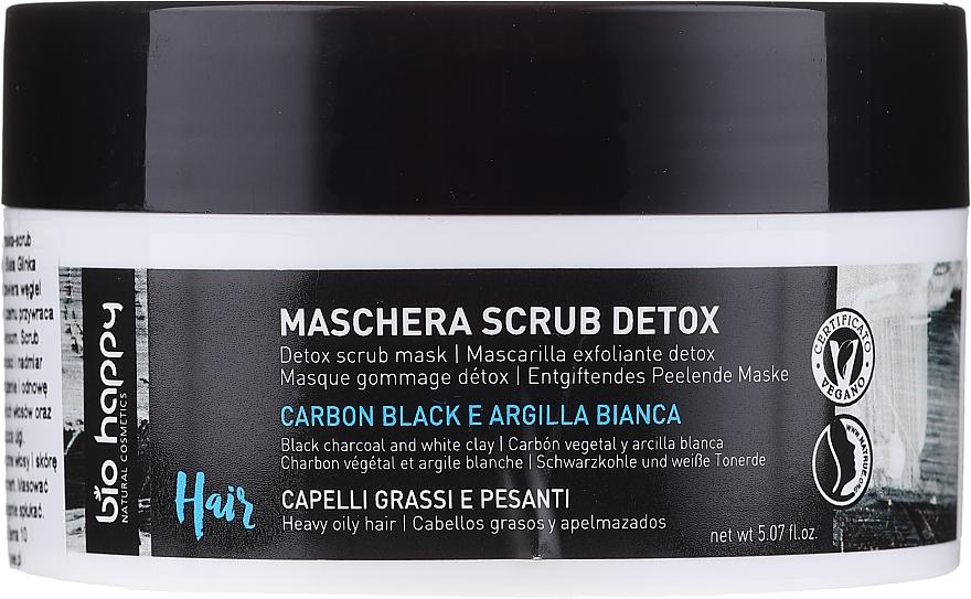 Entgiftende Peelingmaske für fettige Kopfhaut mit Schwarzkohle und weißer Tonerde - Bio Happy Carbon Black & White Clay Scrub Mask