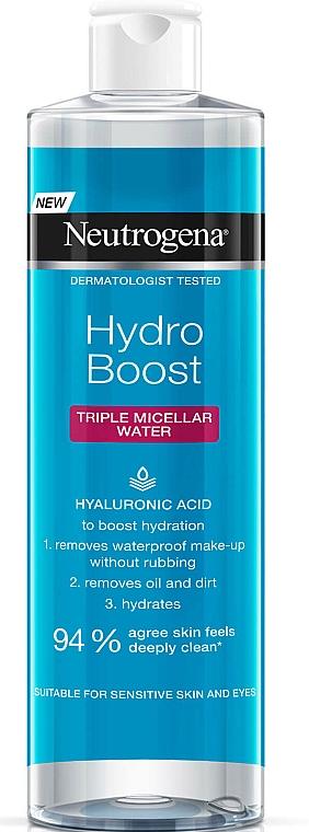 Reinigendes und feuchtigkeitsspendendes Mizellenwasser zum Abschminken mit Hyaluronsäure - Neutrogena Hydro Boost Triple Micellar Water