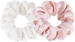 Düfte, Parfümerie und Kosmetik Scrunchie-Haargummi aus Naturseide Midi 2 St. - Makeup Scrunchie Set Milk Powder