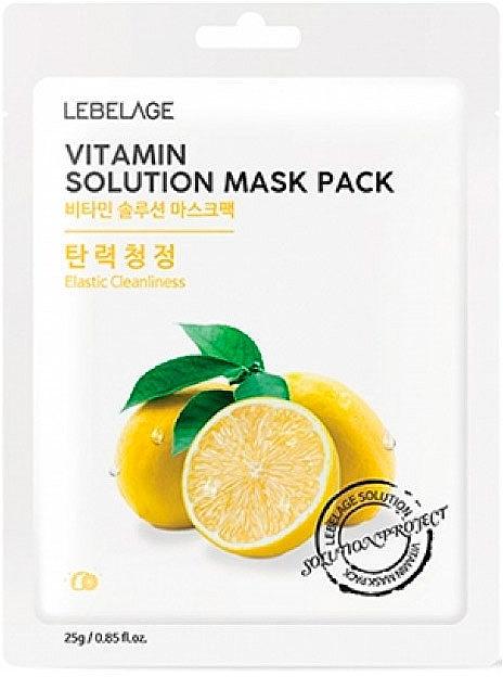 Straffende und aufhellende Tuchmaske für das Gesicht mit Vitamin C - Lebelage Vitamin Solution Mask