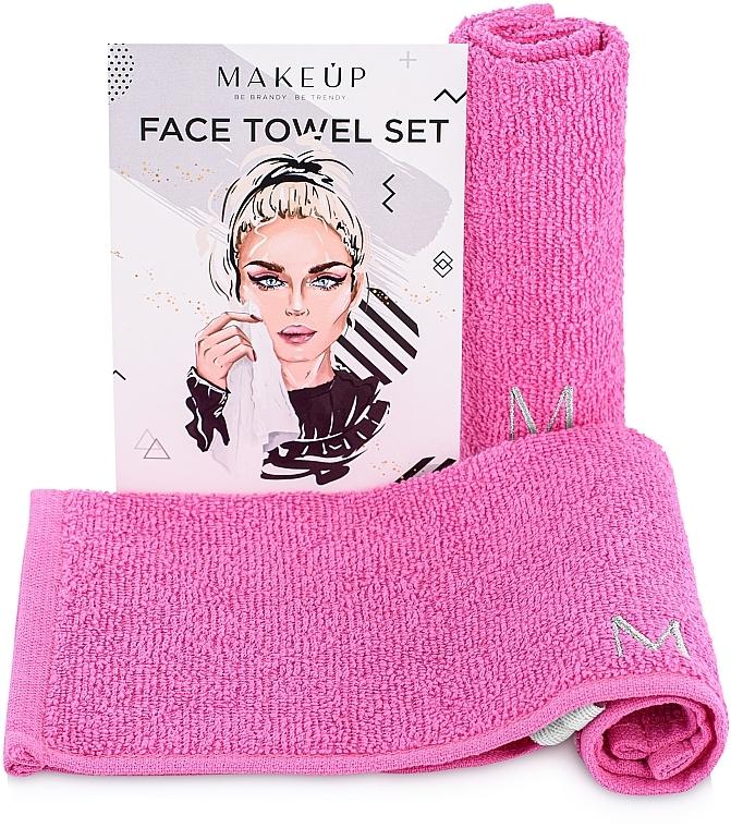 Gesichtstücher rosa 32x32 cm - Makeup Face MakeTravel Towel Set (Duo Pack)