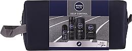 Düfte, Parfümerie und Kosmetik Gesichts- und Körperpflegeset - Nivea Men Deep Control 2020 (Duschgel 250ml + After Shave Lotion 100ml + Rasierschaum 200ml + Deo Roll-on Antitranspirant 50ml + Kosmetiktasche)